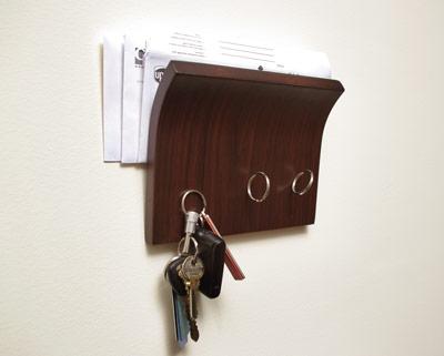 полочка для писем с крючками для ключей