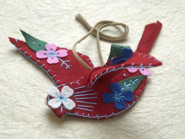 птичка - рождественское украшение для елки