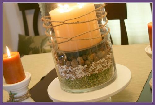 декорируем осенние свечи