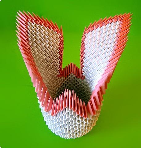 двойной лебедь из модулей оригами
