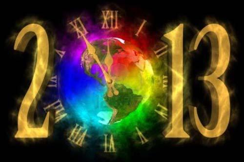 Новогодняя открытка 2013 - часы